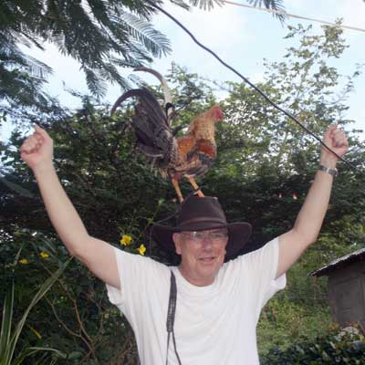 Dave and a rooster on his head